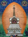 A stupa (Sanskrit: stūpa, Pāli: thūpa, literally meaning 'heap') is a mound-like structure containing Buddhist relics, typically the remains of Buddha, used by Buddhists as a place of worship.<br/><br/>  The term 'chorten' is used for a stupa in Tibetan Buddhism, notably in Tibet, Bhutan, Sikkim, parts of Nepal and Mongolia.<br/><br/>  Stupas are an ancient form of mandala.